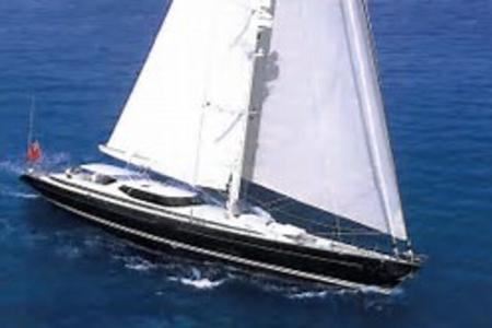 Sailing Megayacht in the Mediterranean.